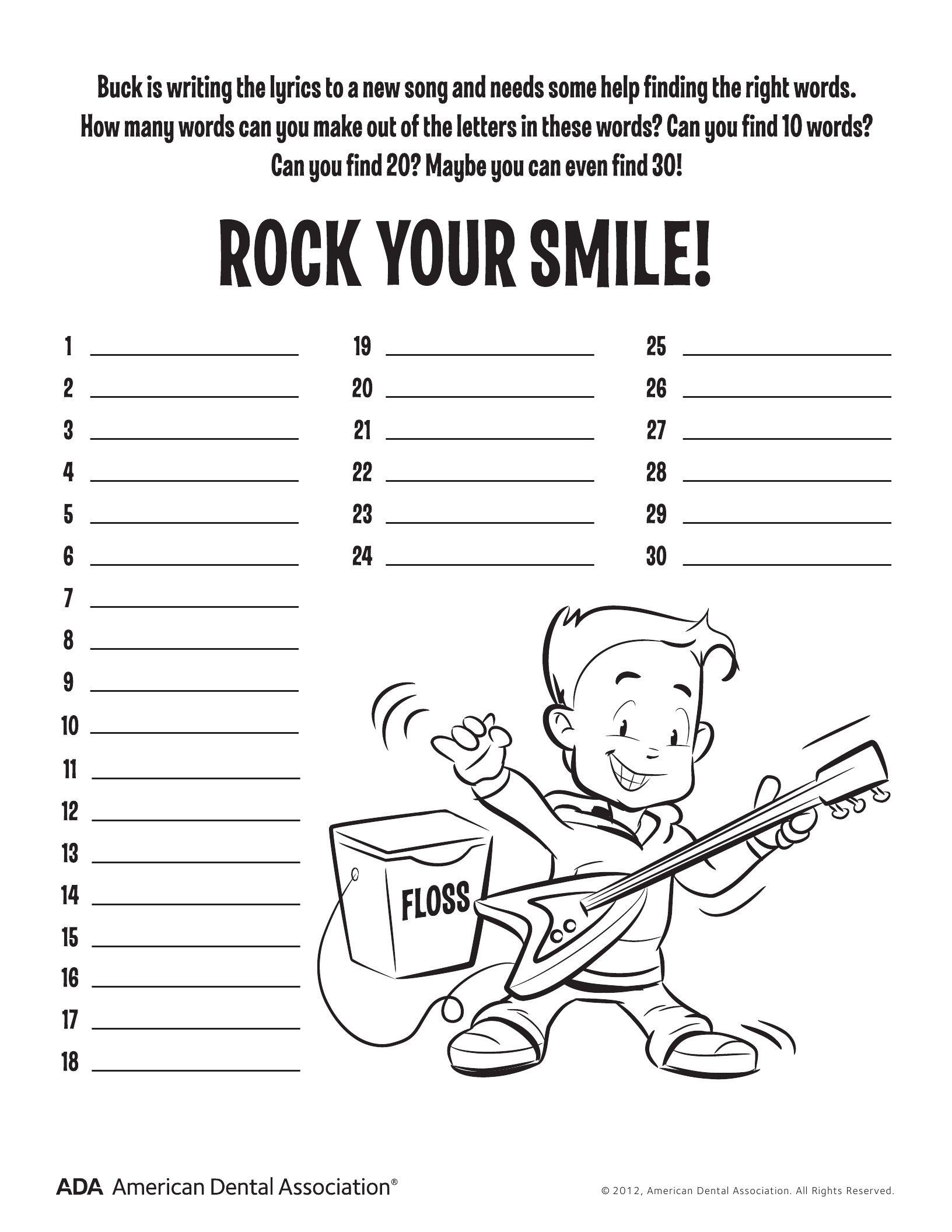 FREE Preschool Dental Health Worksheets & Printables