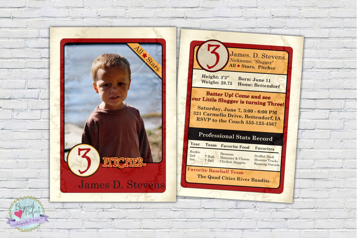 Baseball Card Photo Invitation Birthday Invite Boy First Second Sixth Stats Personalized Facts By