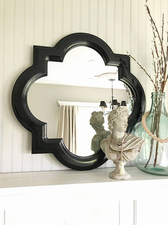 Bathroom Mirror Black black bathroom mirror, scallop framed mirror shabby cottage chic