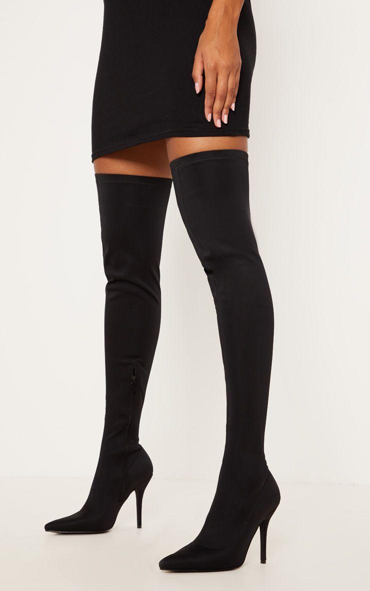 Black Over The Knee Neoprene Sock Boot Over The Knee Boot Outfit Knee Socks Outfits Knee Boots Outfit