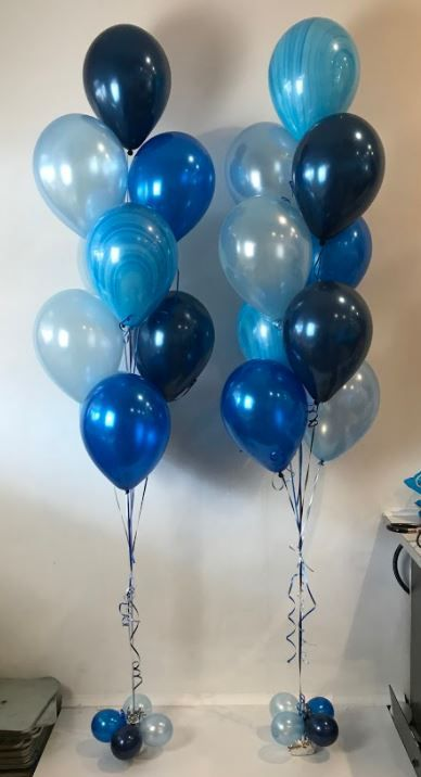 mixture of blue balloons with super agate balloons helium balloon