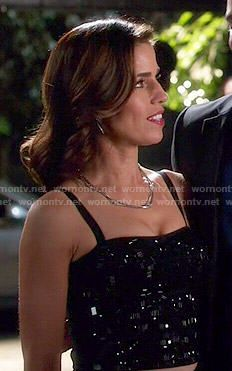 Marisol's black beaded top on Devious Maids.  Outfit Details: http://wornontv.net/50404/ #DeviousMaids