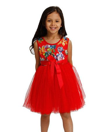 Take a look at this Red Lace Floral Tutu Dress by Designer Kidz on #zulily today!