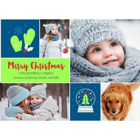 Christmas Icons Holiday Card, Blue