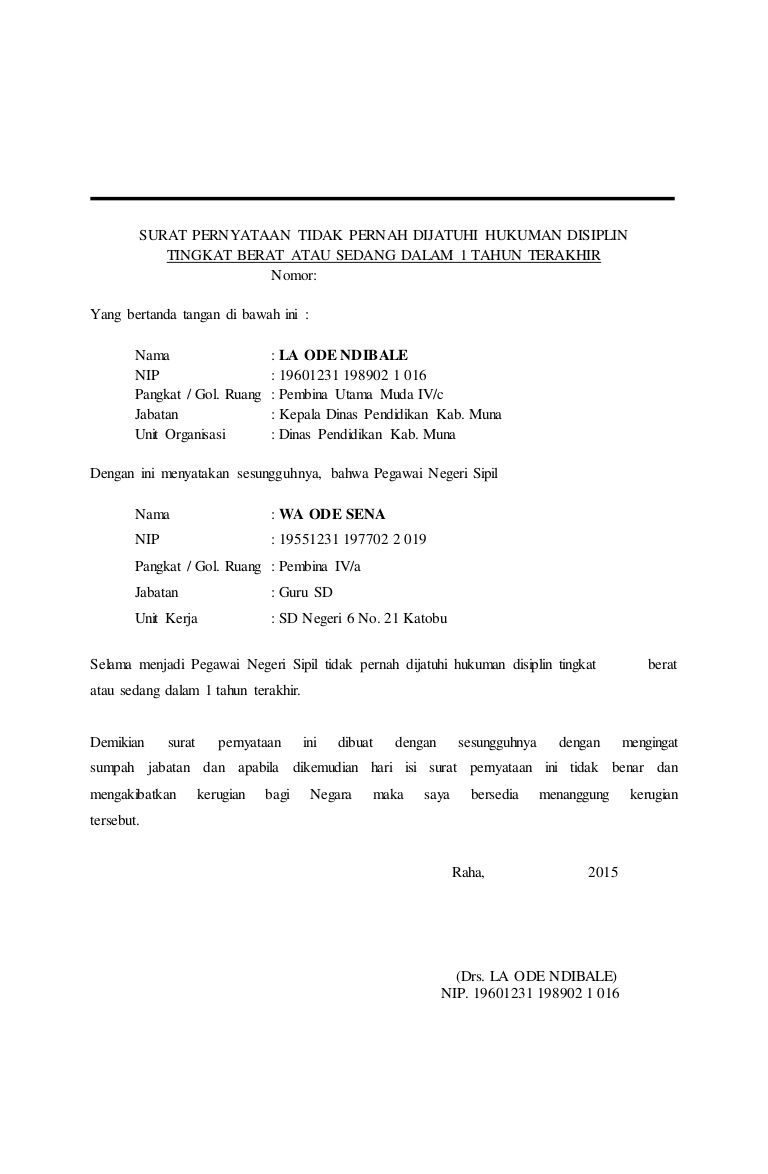 Contoh Surat Pernyataan Sekolah Sma - Contoh Surat