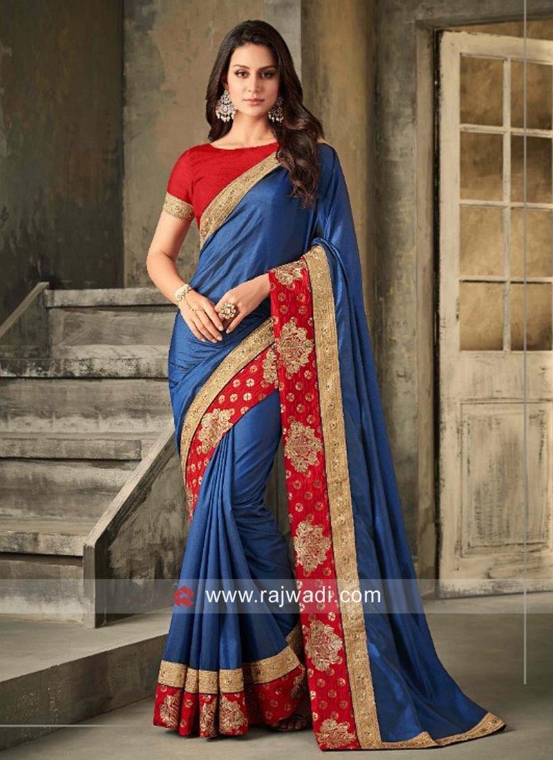 7bdc226217c3d1 Blue Art Silk Saree with Contrast Border.  rajwadi  saree  sareeswag   traditional