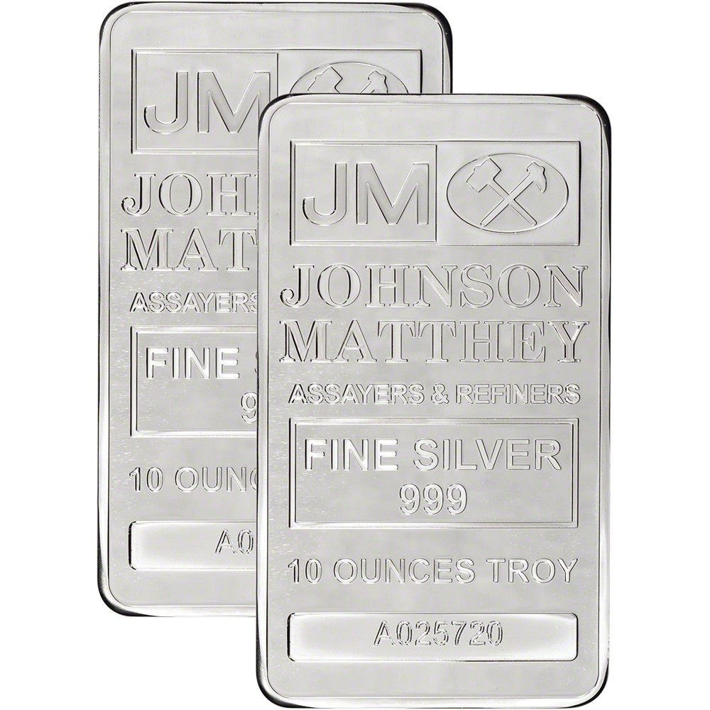 Two 2 10 Oz Jm Silver Bar Johnson Matthey 999 Fine Sealed