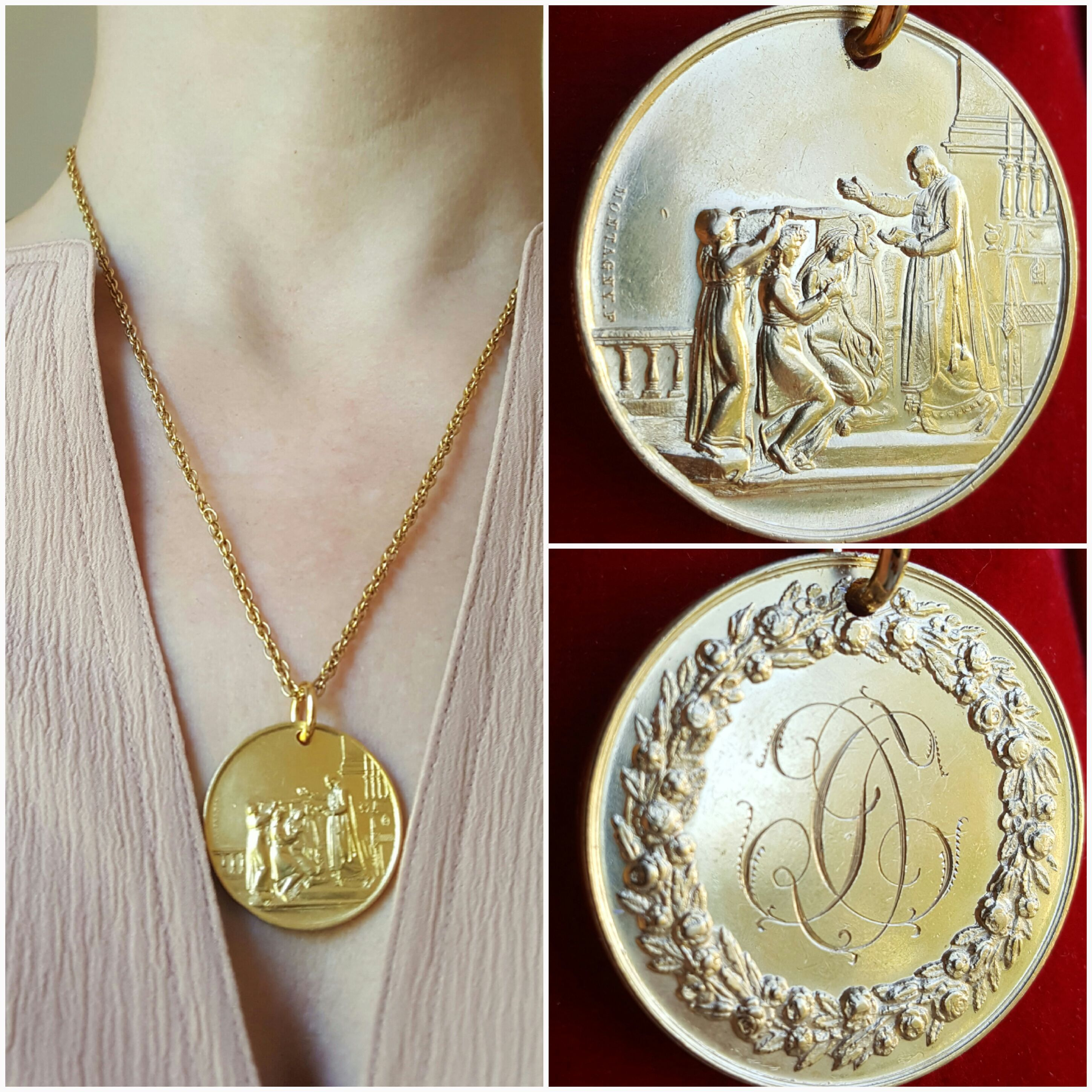 K gold plated silver french art nouveau marriage medal wedding