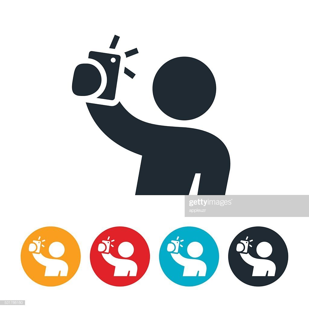 An icon of a person taking a selfie by holding a mobile