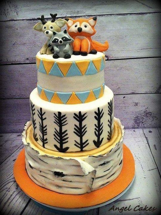 Woodland Friends Baby Shower Cake