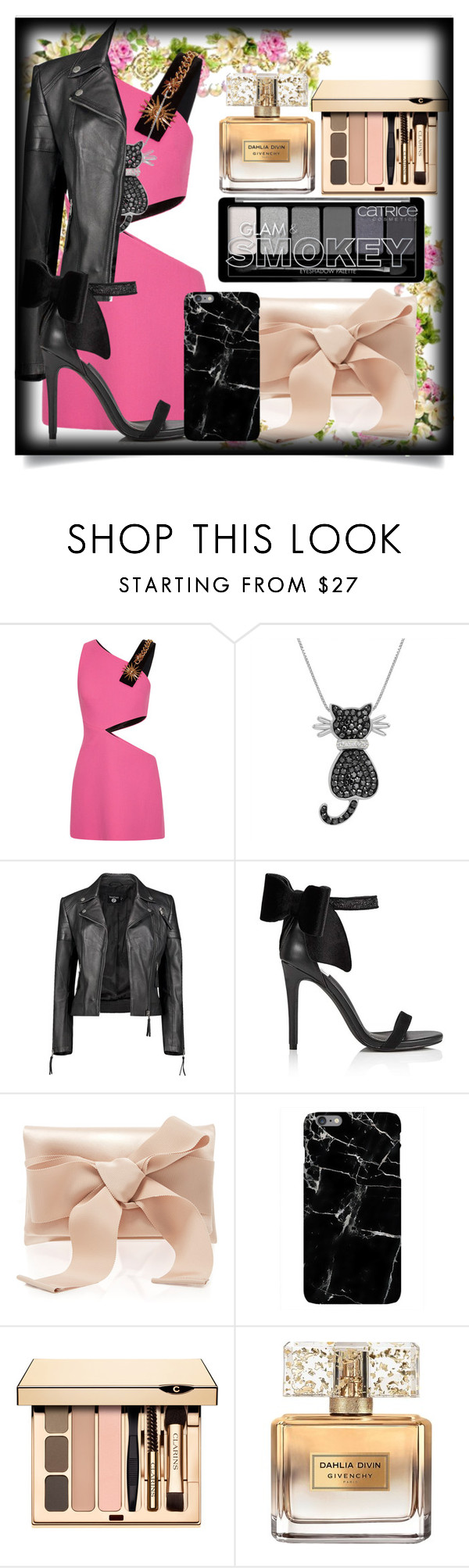 """Pink And Black"" by emilox ❤ liked on Polyvore featuring FAUSTO PUGLISI, Amanda Rose Collection, Boohoo, Miss Selfridge, Oscar de la Renta and Givenchy"