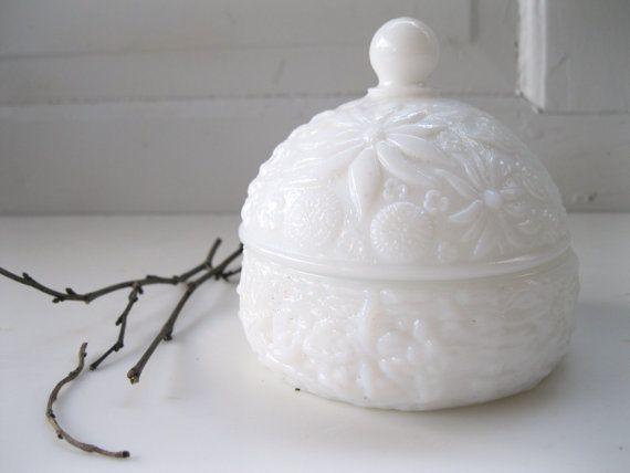 Vintage Embossed Milk Glass Powder Jar By Avon