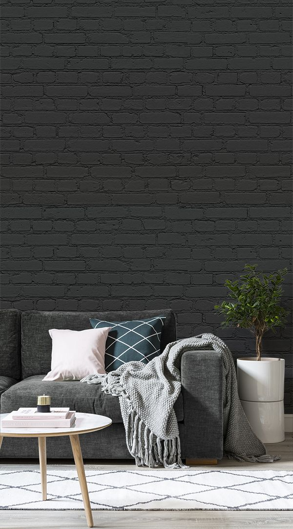 6 Wallpaper Ideas To Create A Hygge Inspired Interior Black Brick Wallpaper Black Wallpaper Living Room Brick Wallpaper Living Room