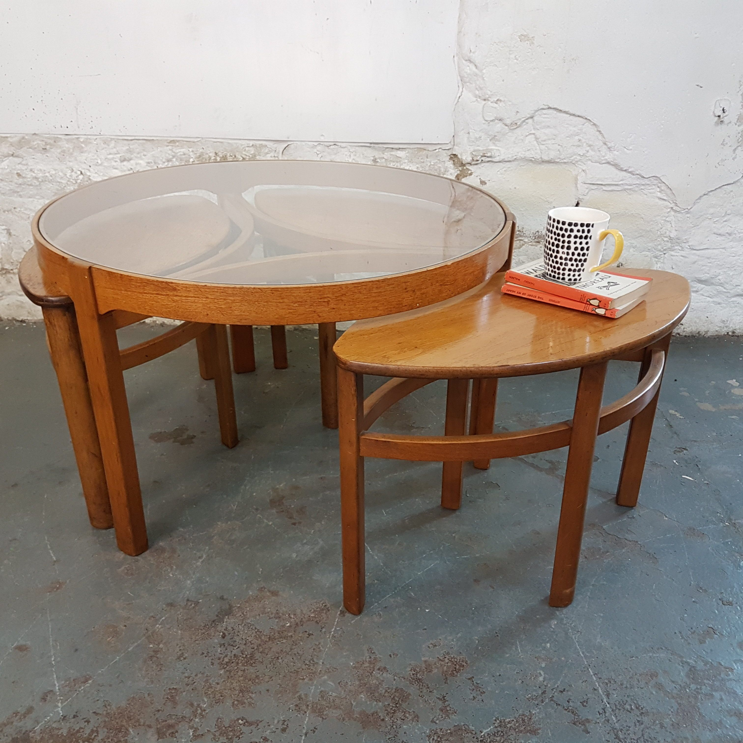 1960s Nathan Teak And Glass Coffee Table With 3 Hidden Tables 125 00 Midcentury Retro Midcenturymo Mid Century Coffee Table Coffee Table Glass Coffee Table
