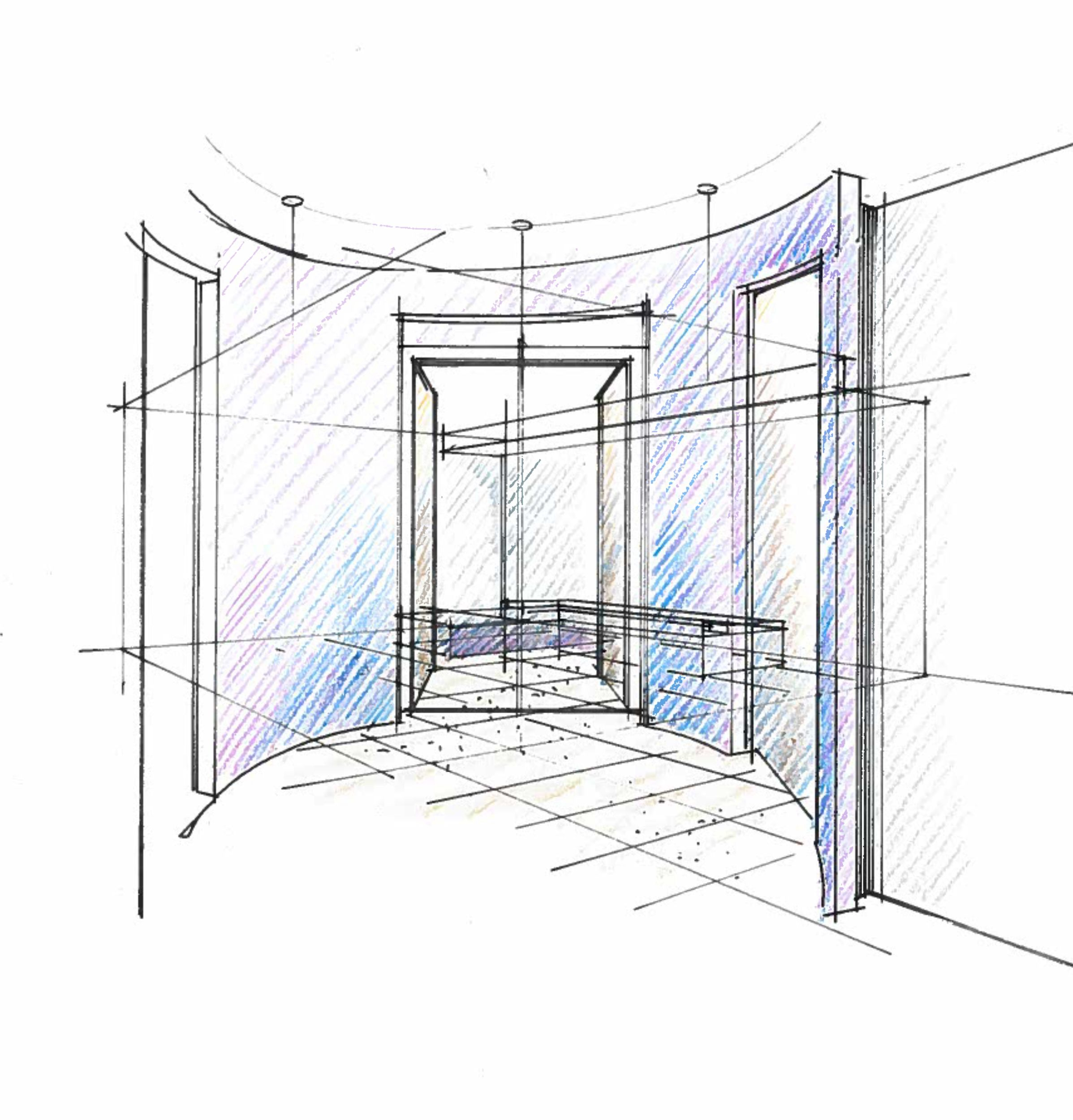 croquis d 39 un satellite en d gagement des acc s chambres. Black Bedroom Furniture Sets. Home Design Ideas