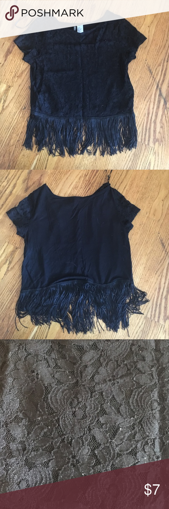 Lace and fringe black crop top Pretty lace crop top with fringe detail at the bottom! H&M Tops Crop Tops