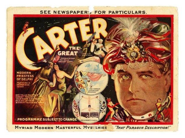 1927 Carter the Great Magician and Satan Metal Sign Vintage Look