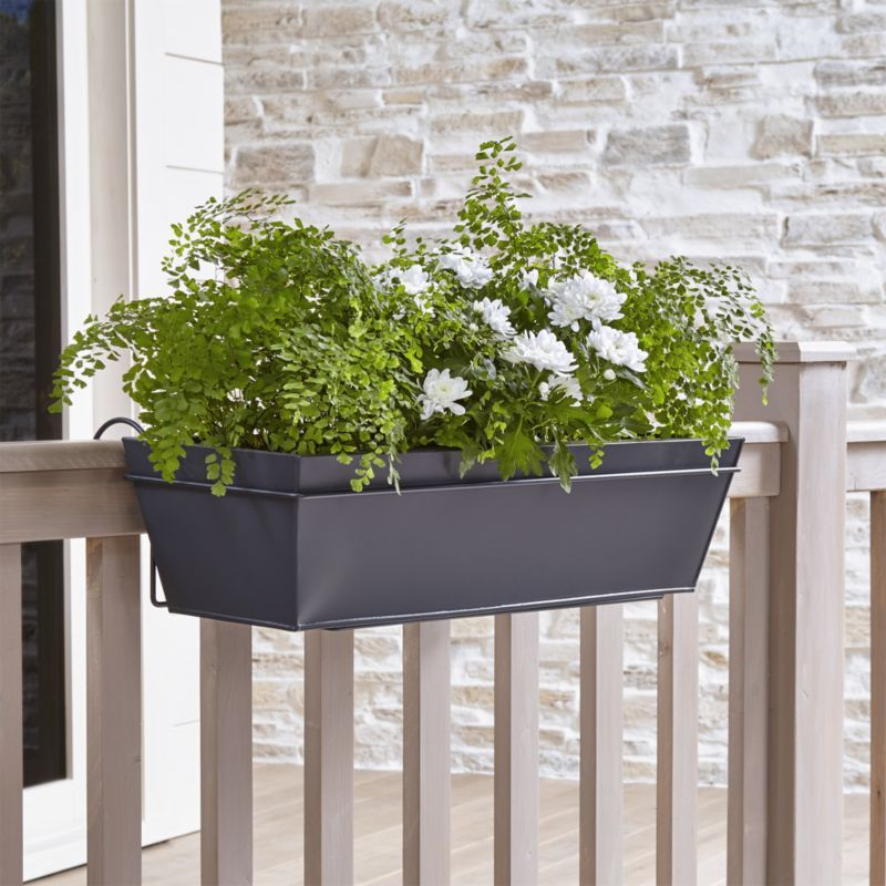 Shop Zinc Rail Planter Box And Hook Clean Lined Planter Squares Off In Galvanized Finished Iron Bringing Planters Balcony Railing Planters Railing Planters