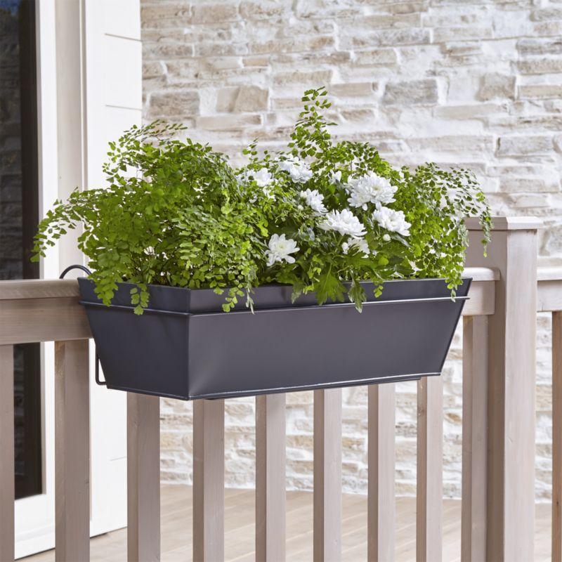 Shop Zinc Rail Planter Box And Hook Clean Lined Planter Squares