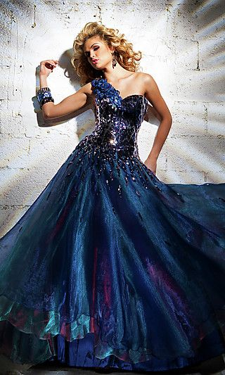 Blue one shoulder formal gown by Tony Bowls. Matching shawl included ...