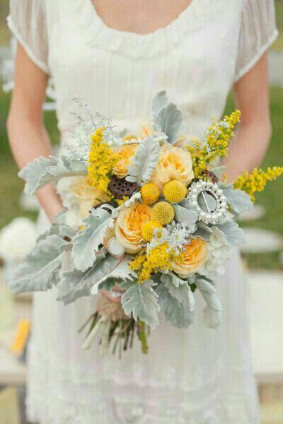 Rustic/Shabby Chic Wedding Bouquet Arranged With: Creamy Yellow ...