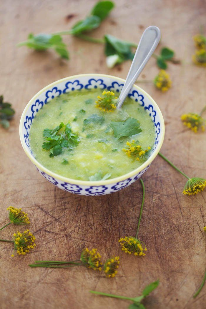Refreshing and raw, Pineapple-Cucumber Gazpacho is an ideal summer sipper.
