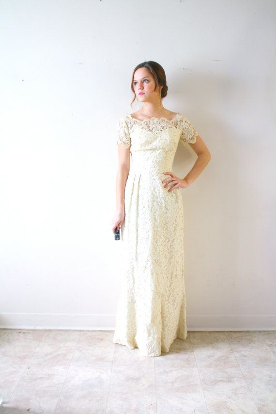 ON HOLD: Wedding dress bohemian pearl lace modest fit | Wedding ...