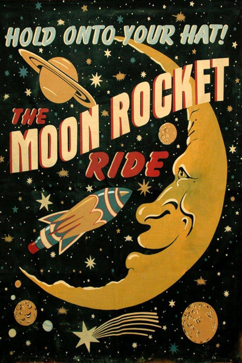 Sci Fi Moon Saturn Comet Rocket Spaceship Astronaut Travel Space ...