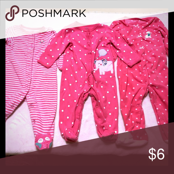 Kids Pink Pajama Bundle- (1) 6M and (2) 9M PJs All Carter's, all EUC Carter's Pajamas