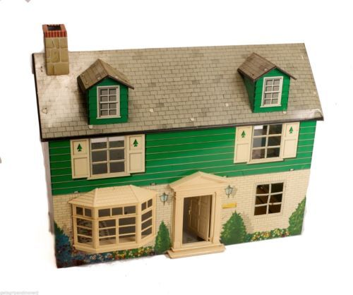 Marx 1960s Two Story Tin Litho Dollhouse Made In Usa Antique