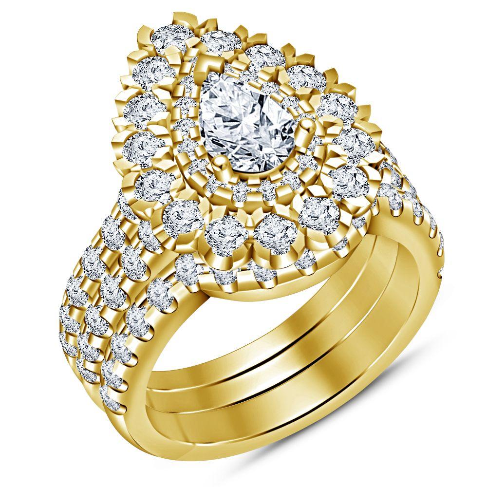 14k yellow gold finish 925 pure silver white diamond