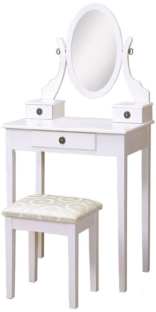 Vanity Set For Women Table And Stool Small Wood Minimal Modern Furniture Make Up Station