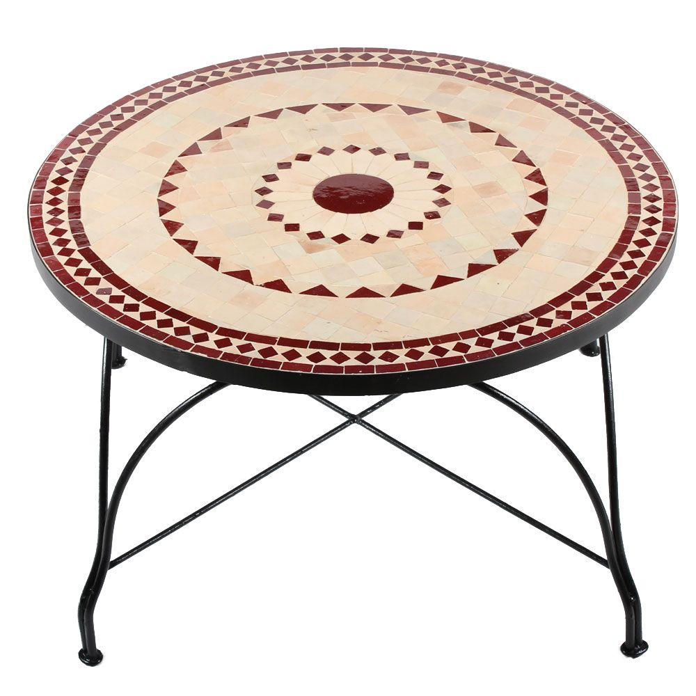 Mosaik Couch Tisch Ronu Mit Unglasierten Naturfliesen Und Roten Mosaiksteinen Www Albena Shop De Couchtisch Mosaiktisch Couchtisch Rund Holz