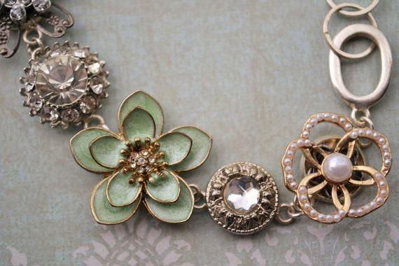 Salvaged Vintage Jewelry Pieces Bracelet by OneCharmingTreasure, $44.99