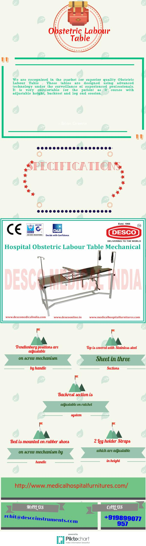 We are recognized in the market for superior quality Obstetric Labour Table . These tables are designed using advanced technology under the surveillance of experienced professionals. It is very comfortable for the patient as it comes with adjustable height, backrest and leg end session.