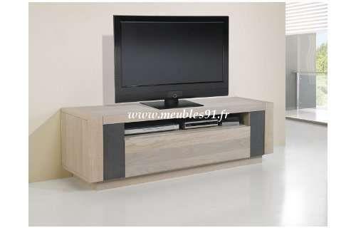 meuble tv chêne de France et céramique finition naturelle ou grisée