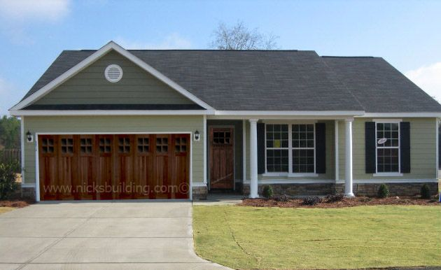 Craftsman House Mission Style Home Wood Garage Door Brown Garage With Green Home More At Http Www House Exterior Exterior House Colors Garage Door Design