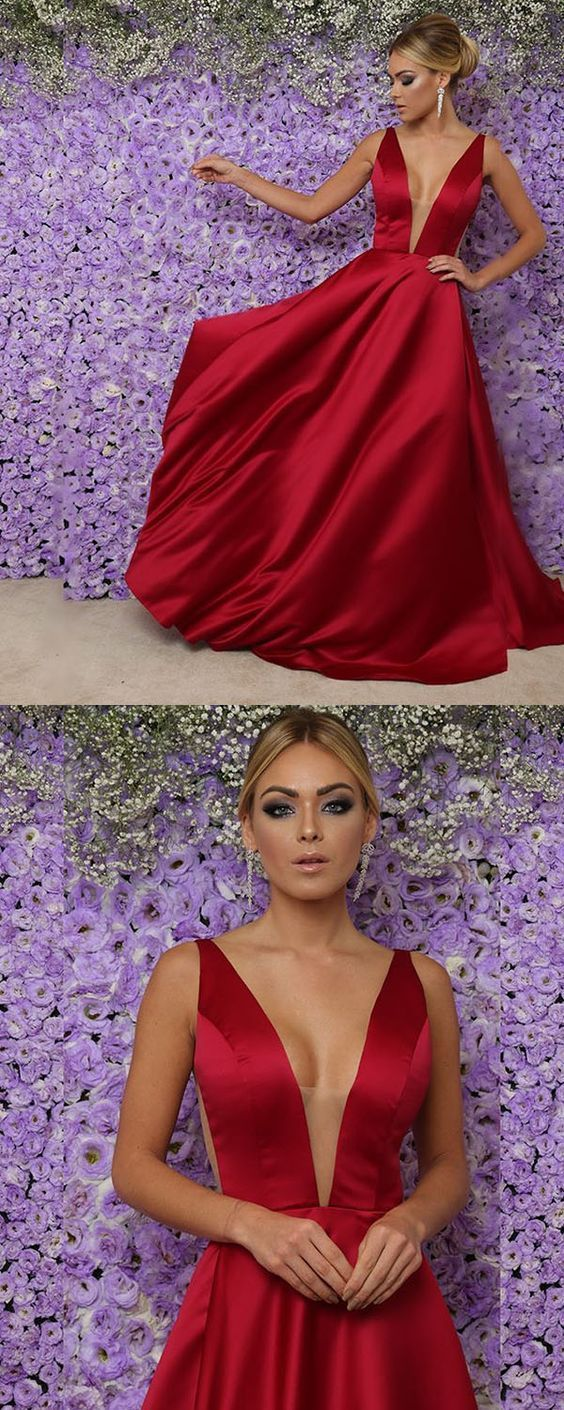 red satin prom dresses long sexy v neckline prom gowns for
