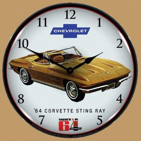 Horloge Lumineuse Retro Eclaire Chevrolet Corvette Stingray Conv 1964 Corvette Wall Clock Light Corvette Stingray