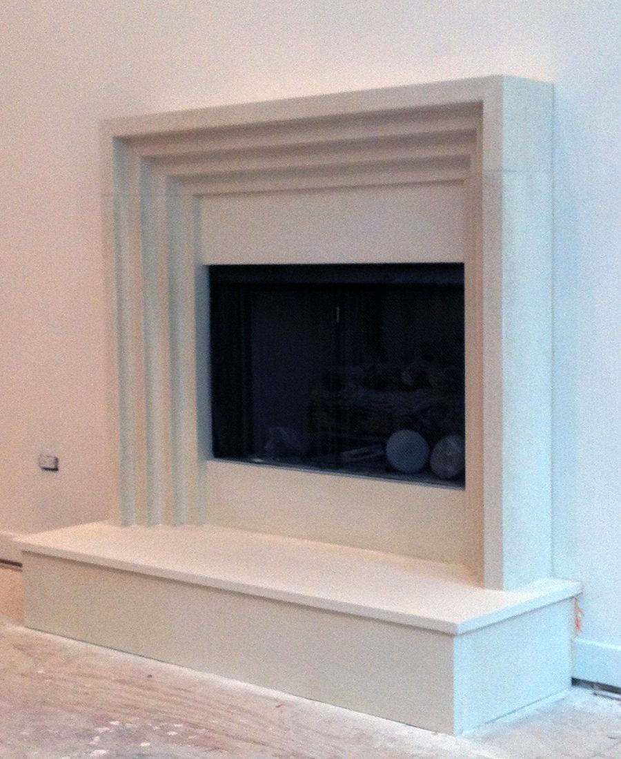 art deco modern cast stone fireplaces | custom size mantels