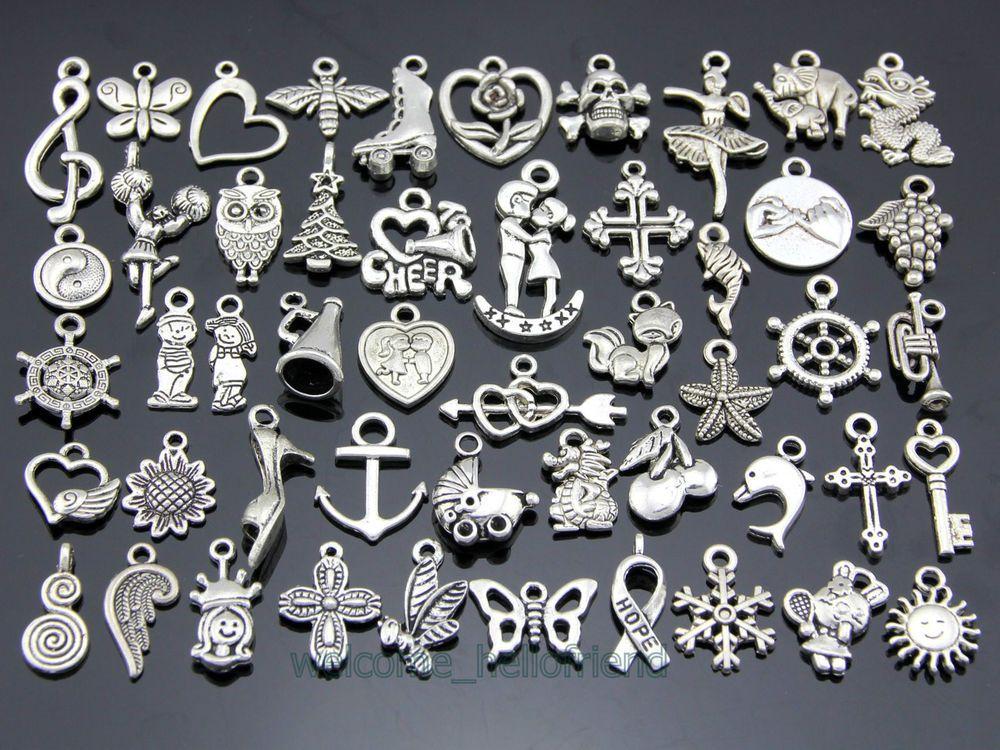 Wholesale 100pcs Bulk Tibetan Silver Mix Charms Pendants Jewelry Making DIY Bu