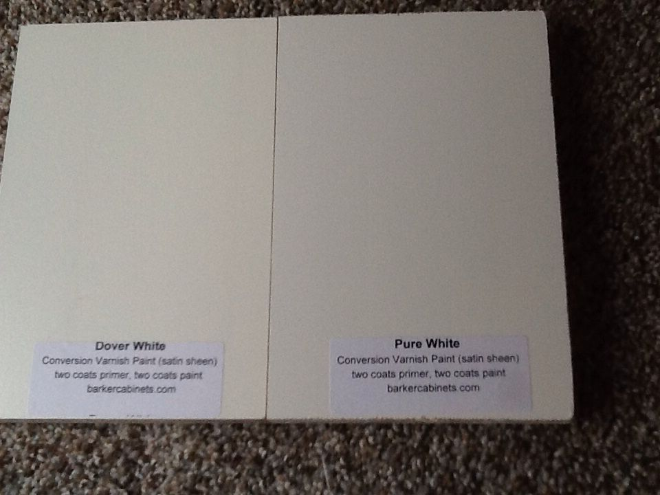 Barker Cabinets - s&les of their white cabinet door colors. I like the Dover White & Barker Cabinets - samples of their white cabinet door colors. I like ...