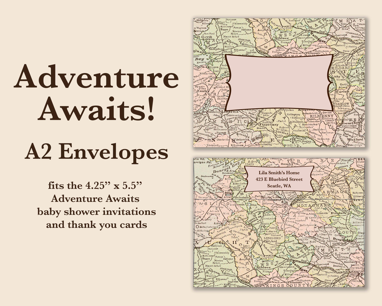 Envelopes Adventure Awaits 4 36 X 5 75 A2 Etsy Adventure Awaits Baby Shower Baby Shower Invitations Custom Envelopes