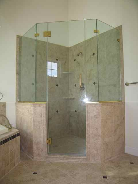 Master Bathroom Knee Wall frameless shower enclosure, neo-angle with extra panels and high