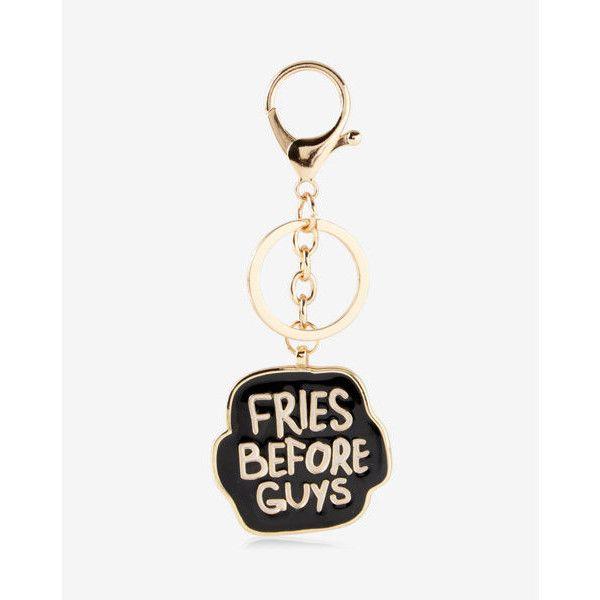 Express Ok Originals Fries Before Guys Keychain And Bag Charm ($11) ❤ liked on Polyvore featuring bags, handbags, black, long handbags, hand bags, man bag, long hand bags and express handbags