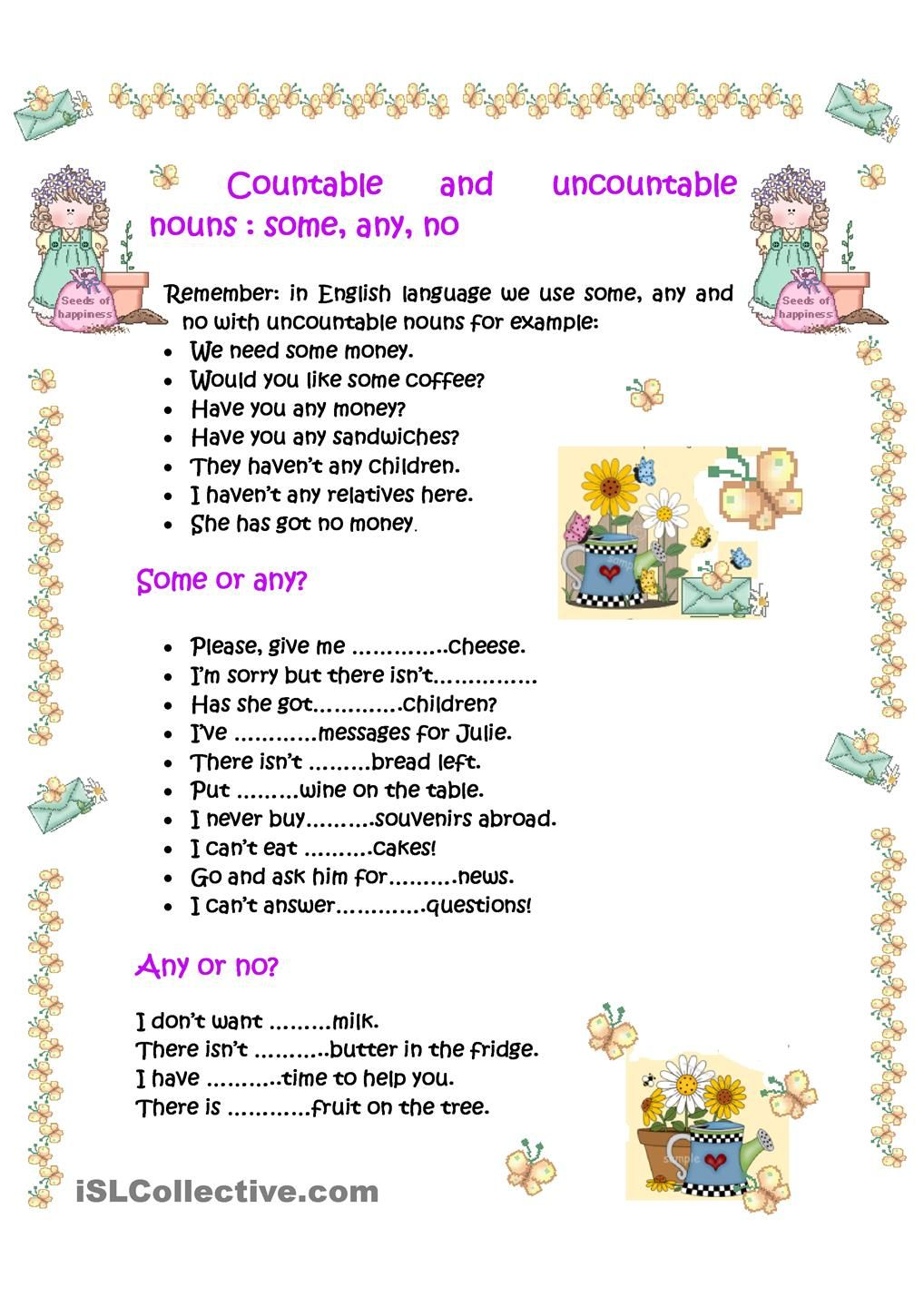 Worksheet Countable Nouns And Uncountable Nouns Worksheet Carlos