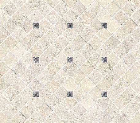 Ivory Travertine Tile Metal Insert Backsplash Idea Ivory Travertine