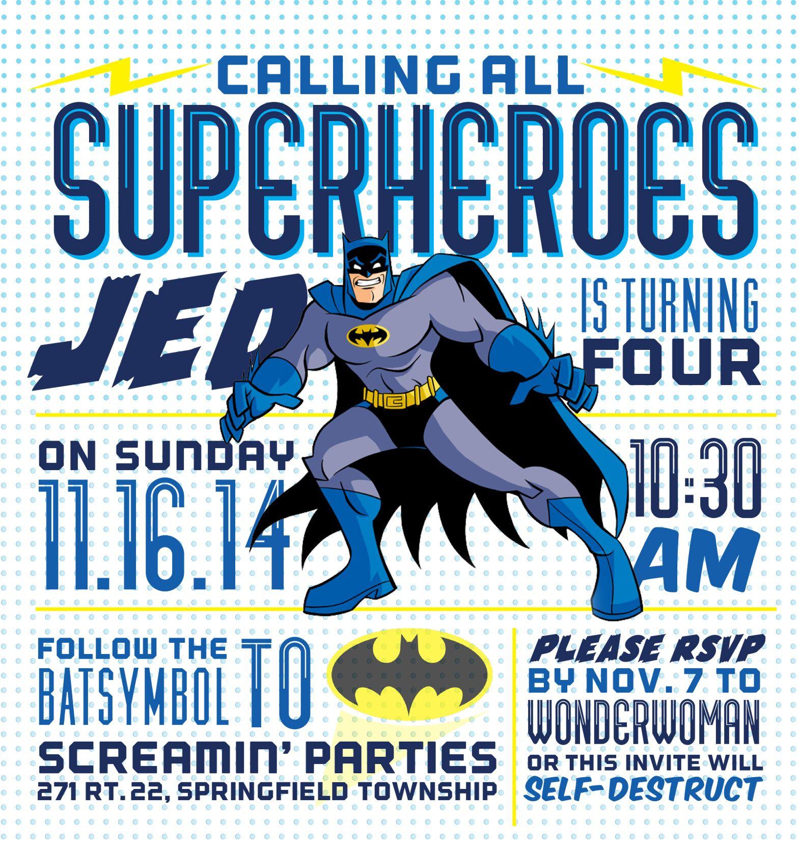 Superhero birthday party invitation by ilysiadesign.com ...