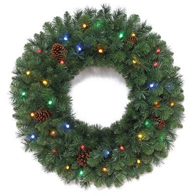 Holiday Living Pre Lit Casper Indoor Outdoor Artificial Christmas Wreath With Clear Led Battery Operated Lights