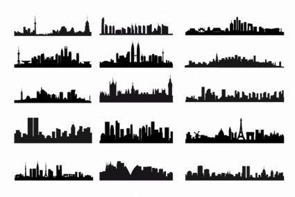 City Skyline Landscape Silhouette Vector Set Landscape Silhouette City Silhouette Silhouette Vector